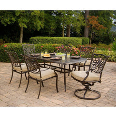 Hammond Adams 7Pc Outdoor Dining Set 4 Chairs 2 Swivel & Dining Table