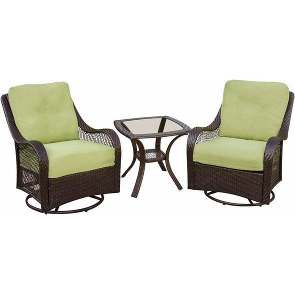 Hammond Brentwood 3Pc Outdoor Wicker Set 2 Swivel rockers & Table - M&K Grills