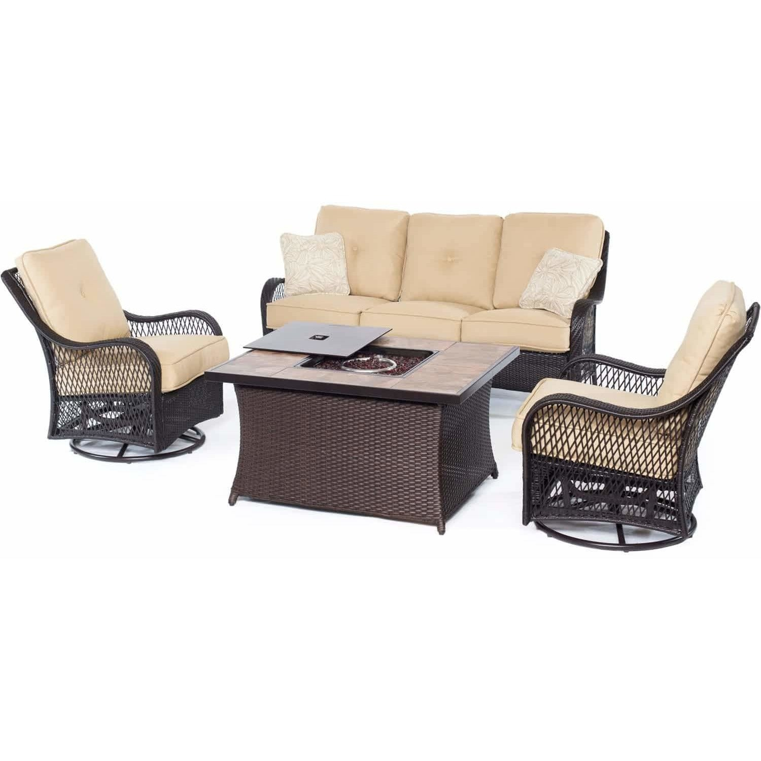 Sensational Hammond Brentwood 4Pc Fire Pit Table Set Loveseat 2 Swivel Evergreenethics Interior Chair Design Evergreenethicsorg
