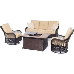 Hammond Brentwood 4pc fire pit table set loveseat 2 swivel chairs - M&K Grills