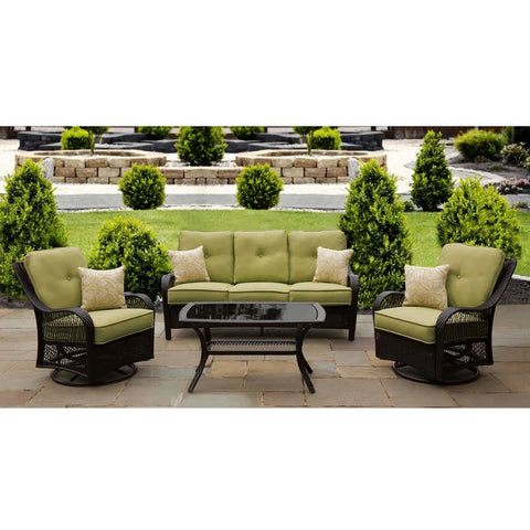 Hammond Brentwood 4Pc Patio Set 2 Swivel Chairs Loveseat Coffee Table - M&K Grills