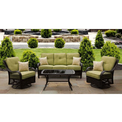 Hammond Brentwood 4Pc Patio Set 2 Swivel Chairs Loveseat Coffee Table