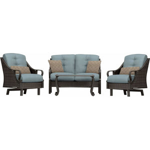 Hammond Casitas 4Pc Outdoor Sofa Set Sofa 2 Glider Chairs Coffee Table - M&K Grills