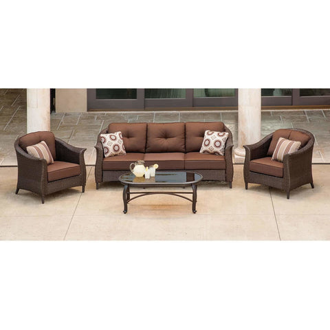 Hammond Drexel 4Pc Outdoor Loveseat Set 2 Chairs Loveseat Coffee Table - M&K Grills