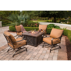 Hammond Wolf Crek 5Pc Fire Pit Table Set With Swivel Rockers