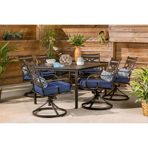 hanover-montclair-7-piece-6-swivel-rockers-40x66-inch-dining-table-mclrdn7pcsqsw6-nvy-complete-set