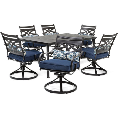 hanover-montclair-7-piece-6-swivel-rockers-40x66-inch-dining-table-mclrdn7pcsqsw6-nvy-set