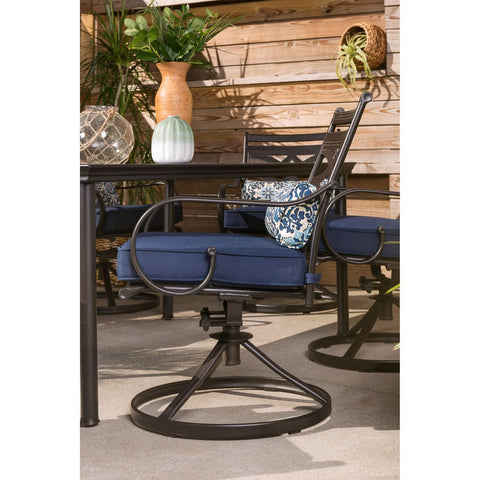 hanover-montclair-7-piece-6-swivel-rockers-40x66-inch-dining-table-mclrdn7pcsqsw6-nvy-swivel-rocker-side-view