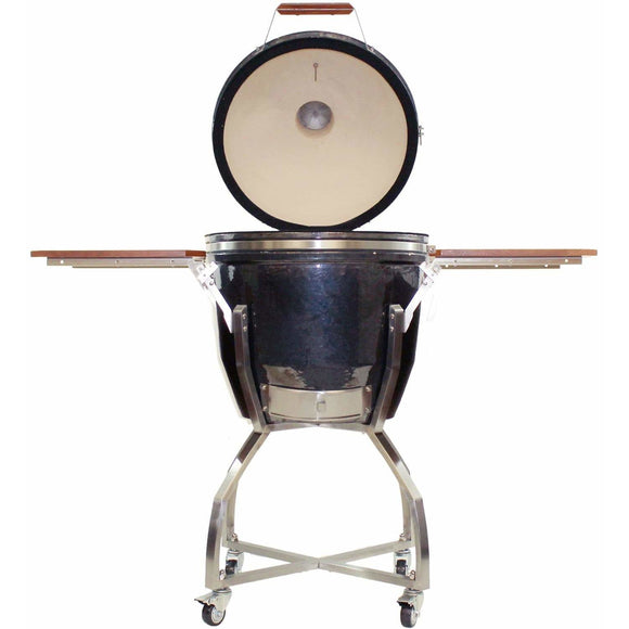 heat-19-inch-ceramic-kamado-charcoal-grill-on-cart-graphite-front-open-shelves-up-mnk-grills
