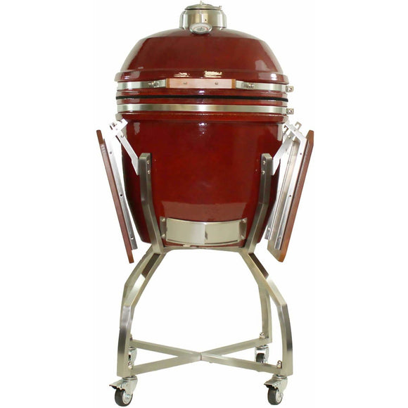 Heat Kamado Grill with cart and Shelves, Red HTK-19CS-RED
