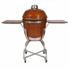 Heat 19 Inch Ceramic Kamado Grill with Shelves and Cart, Rust - M&K Grills