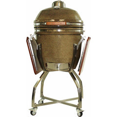 Heat 19 Inch Kamado Char Grill, with cart, shelves and Cover, Sand