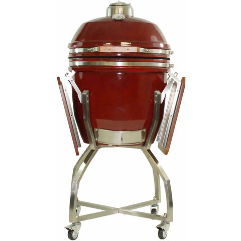 Heat 19 Inch Ceramic Kamado Grill, with cart shelves and Cover | Red - M&K Grills