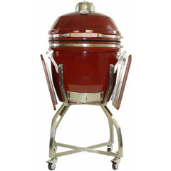Heat 19 Inch Ceramic Kamado Grill, with cart shelves and Cover | Red