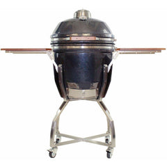 Heat 19 Inch Ceramic Kamado Grill, with cart, shelves and Cover, Graphite