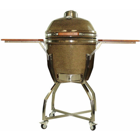 Heat 19 Inch Kamado Char Grill, with cart, shelves and Cover, Sand - M&K Grills
