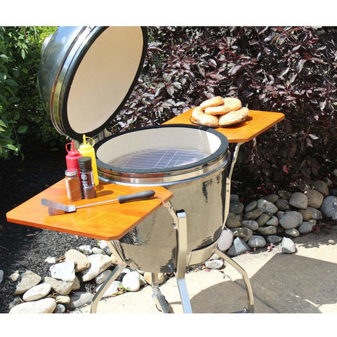 Heat 19 Inch Ceramic Kamado Grill, with cart, shelves and Cover, Graphite - M&K Grills