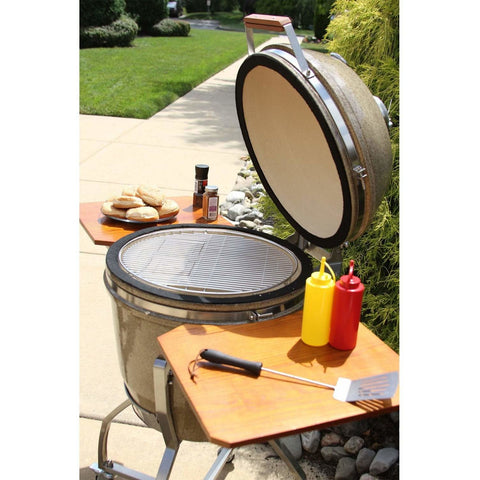 Heat 19 Inch Ceramic Kamado Grill with Shelves Cart, Sand - M&K Grills