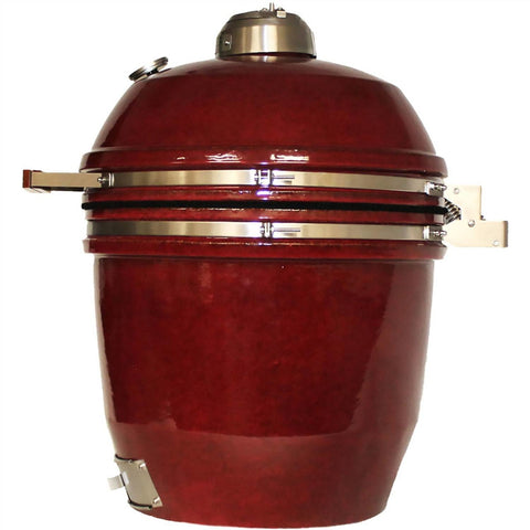 Heat 19 Inch Ceramic Kamado Char Grill, Build Kit, Red - M&K Grills