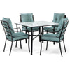 Image of hanover-lavallette-5-piece-dining-set-4-stationary-chairs-square-dining-table