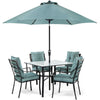 Image of hanover-lavallette-5-piece-dining-set-4-chairs-square-table-1-umbrella-1-umbrella-base