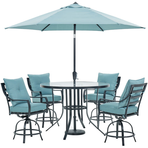 hanover-lavallette-5-piece-4-swivel-bar-chairs-bar-glass-table-umbrella-and-base-lavdn5pcbr-blu-su