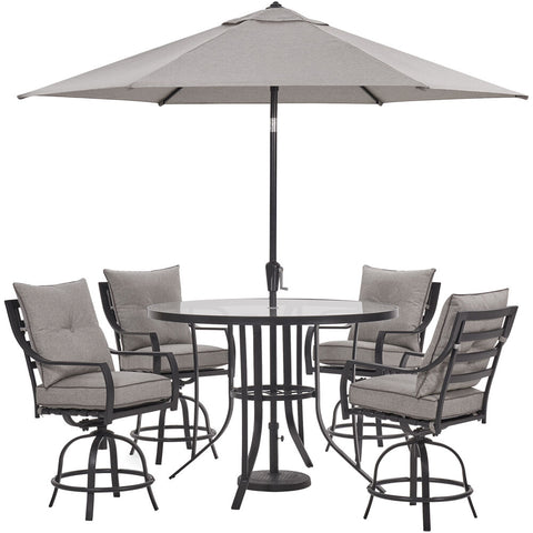 hanover-lavallette-5-piece-4-swivel-bar-chairs-bar-glass-table-umbrella-and-base-lavdn5pcbr-slv-su