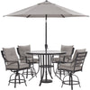 Image of hanover-lavallette-5-piece-4-swivel-bar-chairs-bar-glass-table-umbrella-and-base