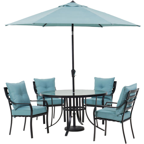 hanover-lavallette-5-piece-4-dining-chairs-round-glass-table-umbrella-and-base-lavdn5pcrd-blu-su