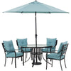 Image of hanover-lavallette-5-piece-4-dining-chairs-round-glass-table-umbrella-and-base