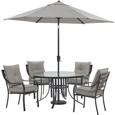 hanover-lavallette-5-piece-4-dining-chairs-round-glass-table-umbrella-and-base-lavdn5pcrd-slv-su
