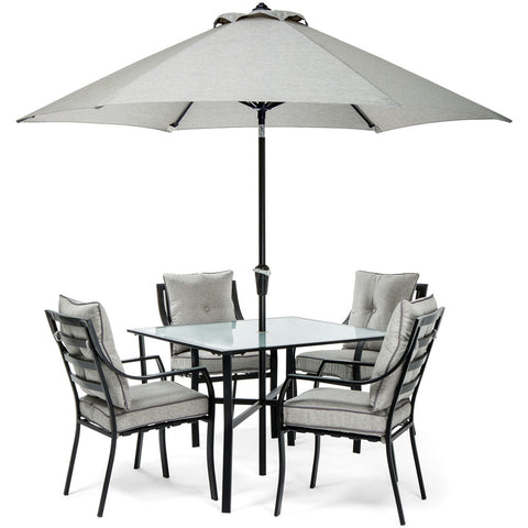 hanover-5-piece-dining-set-4-chairs-square-table-1-umbrella-1-umbrella-base-lavdn5pc-slv-su