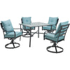 Image of hanover-lavallette-5-piece-4-swivel-dining-chairs-and-square-glass-table