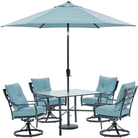 hanover-lavallette-5-piece-4-swivel-dining-chairs-square-glass-table-umbrella-and-base-lavdn5pcsw-blu-su