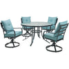 Image of hanover-lavallette-5-piece-4-swivel-dining-chairs-and-round-glass-table