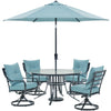 Image of hanover-lavallette-5-piece-4-swivel-chairs-round-glass-table-umbrella-and-base