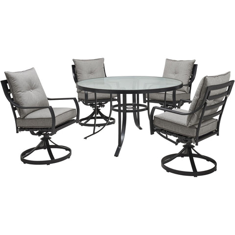 hanover-lavallette-5-piece-4-swivel-dining-chairs-and-round-glass-table-lavdn5pcswrd-slv
