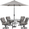 Image of hanover-lavallette-5-piece-4-swivel-dining-chairs-square-glass-table-umbrella-and-base