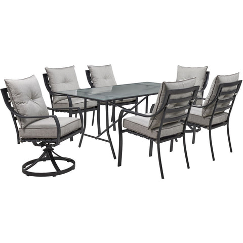 hanover-lavallette-7-piece-4-dining-chairs-2-swivel-dining-chairs-rectangle-glass-table-lavdn7pcsw2-slv