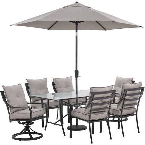 hanover-lavallette-7-piece-4-dining-chairs-2-swivel-chairs-rect.-glass-table-umbrella-and-base-lavdn7pcsw2-slv-su