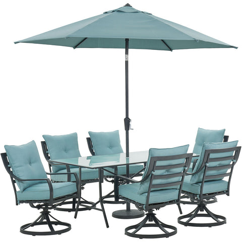 hanover-lavallette-7-piece-6-swivel-dining-chairs-rectangle-glass-table-umbrella-and-base-lavdn7pcsw-blu-su