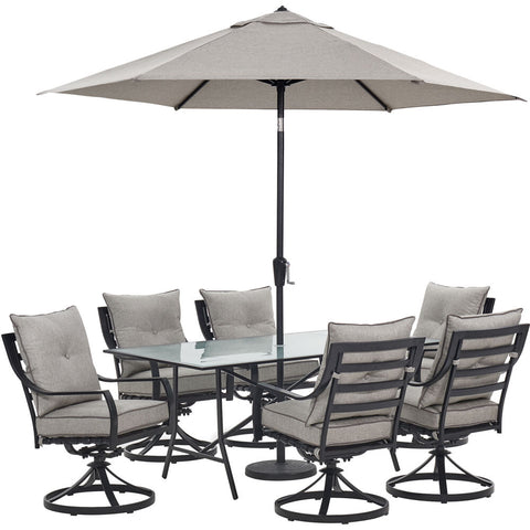 hanover-lavallette-7-piece-6-swivel-dining-chairs-rectangle-glass-table-umbrella-and-base-lavdn7pcsw-slv-su