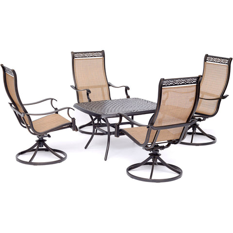 hanover-manor-5-piece-4-sling-swivel-rockers-cast-top-coffee-table-man5pcctsw4-tan