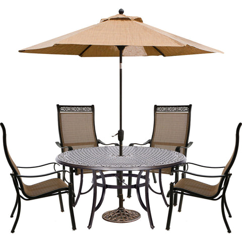hanover-manor-5-piece-4-sling-dining-chairs-60-inch-round-cast-table-umbrella-base-mandn5pcrd-su