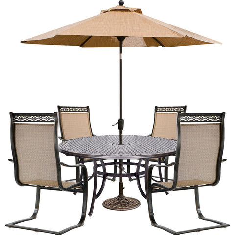 hanover-manor-5-piece-4-spring-sling-chairs-60-inch-round-cast-table-umbrella-base-mandn5pcsprd-su