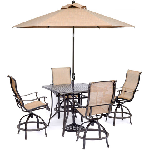 hanover-manor-5-piece-4-sling-counter-height-swivel-chairs-42-inch-square-cast-table-36-inch-height-umbrella-base-mandn5pcsqbr-su