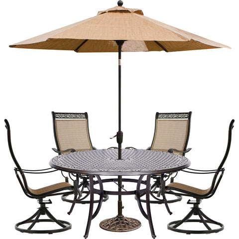 hanover-manor-5-piece-4-sling-swivel-rockers-60-inch-round-cast-table-umbrella-base-mandn5pcswrd4-su