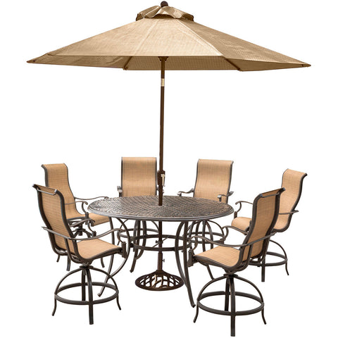 hanover-manor-7-piece-6-sling-counter-height-swivel-chairs-56-inch-round-cast-table-36-inch-height-umbrella-base-mandn7pcbr-su