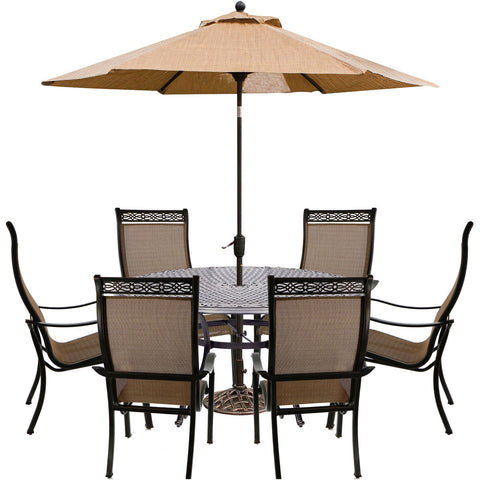 hanover-manor-7-piece-6-sling-dining-chairs-60-inch-round-cast-table-umbrella-base-mandn7pcrd-su