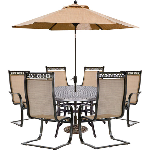 hanover-manor-7-piece-6-c-spring-dining-chairs-60-inch-round-cast-table-umbrella-base-mandn7pcsprd-su